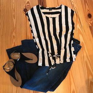 Ella Moss Beige & Black Striped Top Small
